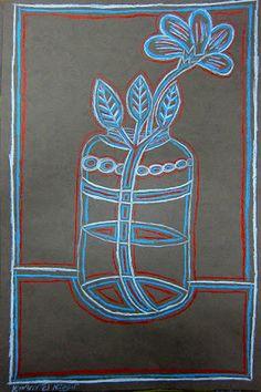 Upper School Art (Grades 7-12): Grade 8 line drawing with color pencils