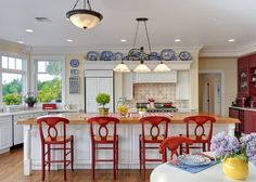 Decorating with Red, White, and Blue in the Kitchen