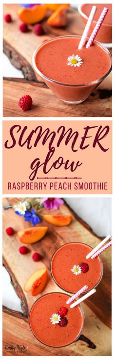 Nourish your body with summers most delicious fresh fruit in this easy to make Raspberry Peach Summer Glow Smoothie! via @emkylenutrition.com