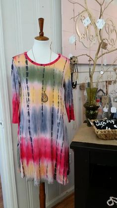 We love this cute & comfy tie dye dress with 3/4 length sleeves. The fuschia & yellow print is so fun & casual. Perfect for a Mommy day out running errands, a Mimi and grandchildren day outor a casual date night. Runs true to size with nice stretch. 95% Rayon, 5% Spandex Sizing Chart S 2-4 M 6-8 L 10-12