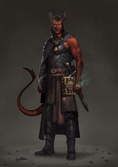 m Tiefling Warlock Leather Armor Cloak Necklace Shortsword Books of Scrolls male Traveler Underdark by Ashkan Ghanbari lg Fantasy Races, Fantasy Rpg, Dark Fantasy Art, Fantasy Artwork, Fantasy Character Design, Character Design Inspiration, Character Concept, Character Art, Dungeons And Dragons Characters