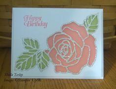 Stampin' Up! Rose Garden Thinlits dies, glimmer paper, vellum