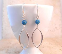 Sterling Silver and Blue Impression Jasper Earrings  by ByEJewelry