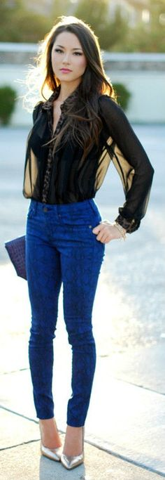 Colored patterned Jean / Sheer black blouse / metallic pump heel / simple clutch