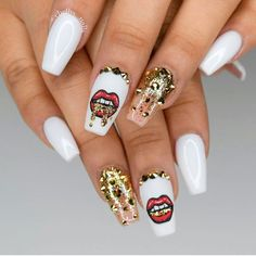 Cute White Acrylic Nails picture 2