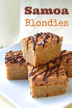 Easy-To-Make Samoa Blondies - combines 2 favourite cookie bars into one; chewy blondies on the bottom with a caramel, coconut and chocolate samoa bar topping.