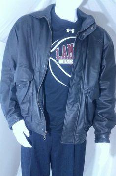 David Taylor Black Leather Jacket Mens Size L #DavidTaylor #FlightBomber