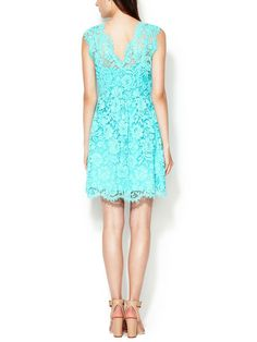 V-Neck Fit and Flare Lace Dress by The Letter at Gilt