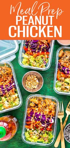 These Peanut Chicken Meal Prep Bowls come together withsautéedchicken, a rainbow of veggies and a delicious peanut sauce for a healthy make ahead, low carb lunch idea! #peanutchicken #mealprep