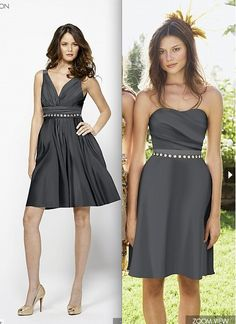 """Watters dress in """"Smoke."""" A v-neck dress with quarry cotton grosgrain straps, shirred waistband and above the knee length skirt (DRESS 1343). Also, strapless dress with draped bodice (DRESS 1346). Both shown with belt style 1200 (sold separately)."""