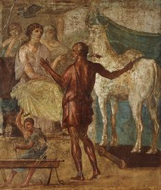 Daedalus and Pasiphae. Fragment. Fresco from the picture gallery of House of the Vettii in Pompeii. 60—79 CE. Pompeii, House of the Vettii.