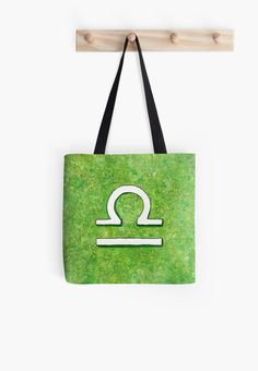"""Zodiac sign : Libra"" Tote Bag by Savousepate on Redbubble #totebag #bag #astrology #astrologicalsign #zodiacsign #libra #green #white #watercolorpainting"