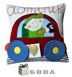 dla Dominika (proj. GOHA), do kupienia w DecoBazaar.com Cute Pillows, Diy Pillows, Decorative Throw Pillows, Felt Pillow, Baby Hamper, Reading Pillow, Patchwork Pillow, Sewing Pillows, Small Quilts