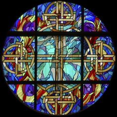 """Stained Glass Rose Window St. Columb""""s Episcopal Church  This is a beautiful piece."""