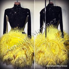 "3,177 Gostos, 21 Comentários - Abraham Martinez (@am.abraham_martinez) no Instagram: ""@svetlana_gudyno 🖤🌓💛 #abrahammartinez #designer #dress #dresses #latin #latindress #blackandyellow…"" Big Skirts, Latin Dance Dresses, Shall We Dance, Ballroom Dress, Yellow Dress, Black N Yellow, Feathers, Designer Dresses, Dancers"