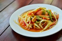 Laotian Green Papaya Salad with Lime Recipe  https://wine4food.com/recipes/lay-ocean-green-papaya-salad/