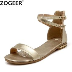 Plus size 46 2019 Summer Women Sandals Genuine Leather Flat Heel Flip Flops Gladiator Casual ankle strap Shoe Woman white gold. Product ID: Leather Sandals Flat, Gold Sandals, Flat Sandals, Womens Summer Shoes, Womens Flats, Heeled Flip Flops, Ankle Strap Shoes, China, Black Shoes