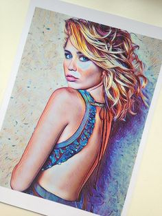 Miley Cyrus Drawing PRINT Wall Art Celebrity Fan Hand Drawn