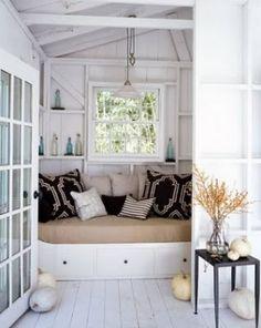 Beachy feel but more modern closet sleeping nook