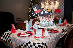 black white and red baby shower