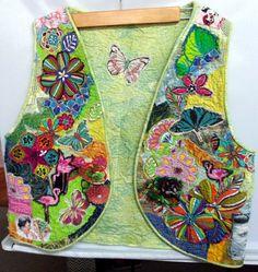 Fiber Art Vest Flowers Butterflies Ladies Fabric Art by Quiltwear