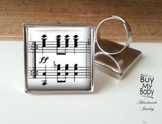 Ringe - Klavierakkorde MUSIKNOTEN silberne Ring quadratisc - ein Designerstück von BuyMyBaby bei DaWanda