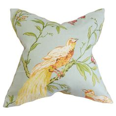 A lovely touch for your sofa, bed, or chaise, this cotton pillow showcases a perching bird motif and feather-down fill. Made in the USA.