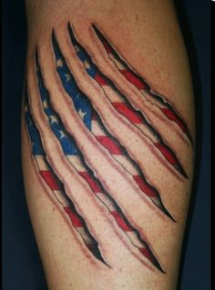 Awesome 3D tattoo of American flag seen thru claw marks