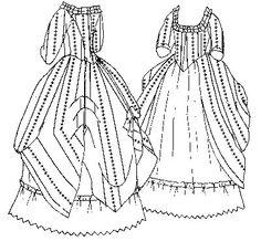 PI420  1770 Polonaise & Petticoat Pattern by patternsoftime, $13.95