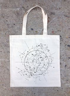 Tote Bag  Celestial Map of the Night Sky by CrawlspaceStudios