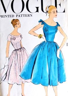1950s Lovely Party Evening Dress Pattern Vogue 9342 Two Style Versions Bust 32 Vintage Sewing Pattern FACTORY FOLDED
