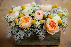 Wooden Box, David Austin Roses, Carnations, Billy Buttons, Dusty Millar, Easter Daisy.  Zinnia Floral Designs