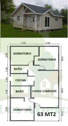 Modern Small House Design, Modern House Plans, Small House Plans, House Floor Plans, House Layout Plans, House Layouts, Bungalow Haus Design, Three Bedroom House Plan, Rest House