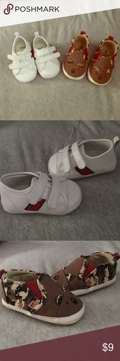 2 pairs of infant shoes 2 pairs of infant shoes. 1 white shoes with blue and red stripes 2. Koala/bear shoes Gymboree Shoes Baby & Walker
