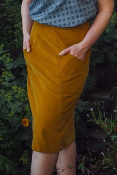 Ochre 'A Frame' made using Blueprints for Sewing. #BeyondMeasure #sewing #skirt #handmade #patterns Sewing Lessons, Pattern Paper, Dressmaking, A Line Skirts, High Waisted Skirt, Sewing Patterns, Inspired, Frame, Handmade