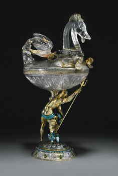 rock crystal cup with jewelled and enamelled silver-gilt mounts, Vienna, circa 1875 Antique Glass, Antique Art, Antique Silver, Cut Glass, Glass Art, Mermaids And Mermen, Crystal Collection, Objet D'art, Ancient Art