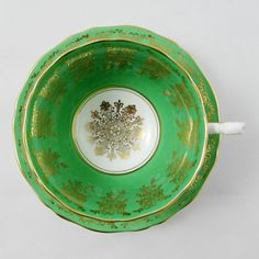 Vintage Green Tea Cup and Saucer Bone China by Adderley with