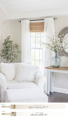 New England Farmhouse Neutral Paint Color Scheme Edgecomb Gray Family Room Grey Family Rooms, Family Room Design, Family Room Colors, White Rooms, Cream And White Living Room, Narrow Family Room, Gray Rooms, My Living Room, Home And Living