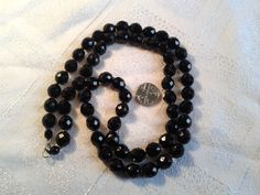 Vintage Black Glass Czech Bead Necklace, Faceted, Knotted. by GothiqueGirl on Etsy