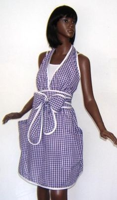 Gingham Halter Wrap Apron Purple by Puddintanes on Etsy