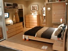 IKEA Malm Furniture - Natural Wood, Small Bedroom
