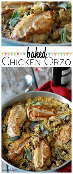 Baked chicken and orzo is pure comfort food! Plump and tender chicken, soft mushrooms, fresh sage and orzo makes a dinner recipe the whole family will love!
