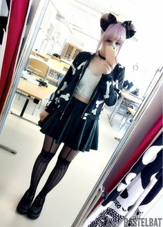 Outfit of today :3 bone jacket and the skirt is from sheinside (`・ω・´)""