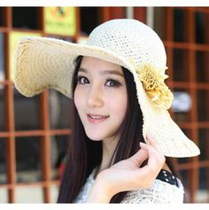 White wide brim sun hats for wome with flower UV floppy summer straw hat
