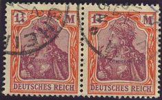 "German Empire - 1920 / 21, Germania 1 1/4 M. with ""quatrefoils watermark. "", horizontal choice copy pair with postmarks from Besigheim, photo certificate Tworek BPP (used, Michel-no. 151 Y / Michel EUR 2,600.--) (33)  Dealer Auktionshaus Weiser  Auction Starting Price: 600.00 EUR"