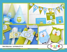 owl baby boy DIY printable Birthday or Baby Shower by Solpashop, $9.00
