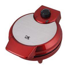 Kalorik Heart-Shaped Waffle Maker, Red Metallic, Silver
