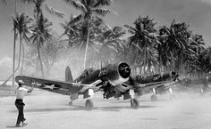 USMC F-4 U-1A Corsair at the Marshall Islands during pacific war in 1944