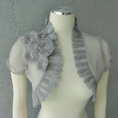 Wedding Bolero Shrug Gray Chiffon With Flowers and Rhinestone and Lace Trim – 2019 - Chiffon Diy