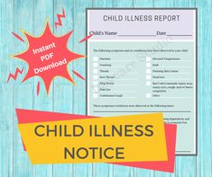 """This listing includes a digital printable download: A """"Child Illness Report"""" is a form to be given to a parent when a child develops symptoms or becomes sick while at your daycare, center, or child care program. This complete printable report is designed for licensed childcare centers, in home daycares, nannies, and preschools. Sick, Daycares, Preschools, Daycare Forms, Child Care, Parents, Printables, Times, Digital"""